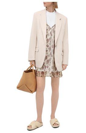 Женское хлопковое платье PALM ANGELS бежевого цвета, арт. PWDB099S21FAB0016101   Фото 2