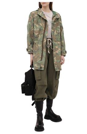 Женские хлопковые джоггеры PALM ANGELS хаки цвета, арт. PWCF001S21FAB0015656 | Фото 2