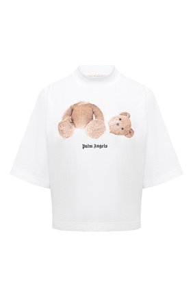 Женская хлопковая футболка PALM ANGELS белого цвета, арт. PWAA020S21JER0010160   Фото 1