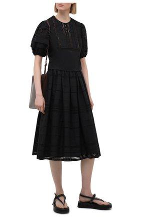 Женская хлопковая юбка REDVALENTINO черного цвета, арт. VR0RA01J/5T0 | Фото 2