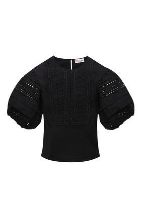 Женская хлопковая блузка REDVALENTINO черного цвета, арт. VR0AA02R/5T0   Фото 1 (Материал внешний: Хлопок; Длина (для топов): Укороченные; Принт: Без принта; Стили: Бохо; Женское Кросс-КТ: Блуза-одежда; Рукава: Короткие)