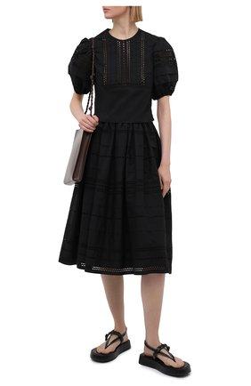 Женская хлопковая блузка REDVALENTINO черного цвета, арт. VR0AA02R/5T0   Фото 2 (Материал внешний: Хлопок; Длина (для топов): Укороченные; Принт: Без принта; Стили: Бохо; Женское Кросс-КТ: Блуза-одежда; Рукава: Короткие)