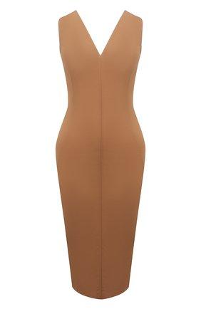 Женское хлопковое платье RICK OWENS светло-коричневого цвета, арт. RP21S3528/TE   Фото 1