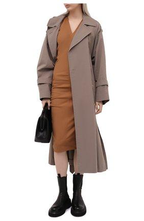 Женское хлопковое платье RICK OWENS светло-коричневого цвета, арт. RP21S3528/TE   Фото 2
