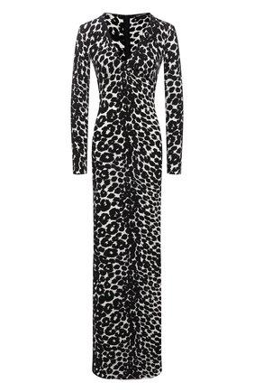 Женское платье из вискозы TOM FORD леопардового цвета, арт. ABJ572-FAP116 | Фото 1 (Длина Ж (юбки, платья, шорты): Макси; Рукава: Длинные; Материал внешний: Вискоза; Стили: Романтичный; Женское Кросс-КТ: Платье-одежда; Случай: Вечерний)