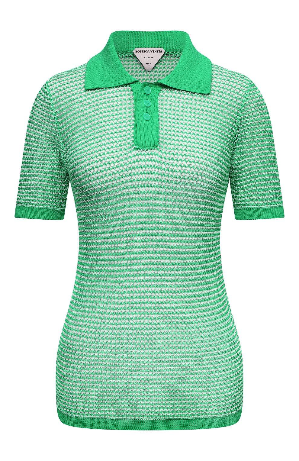 Женское поло BOTTEGA VENETA зеленого цвета, арт. 659484/V0R50 | Фото 1