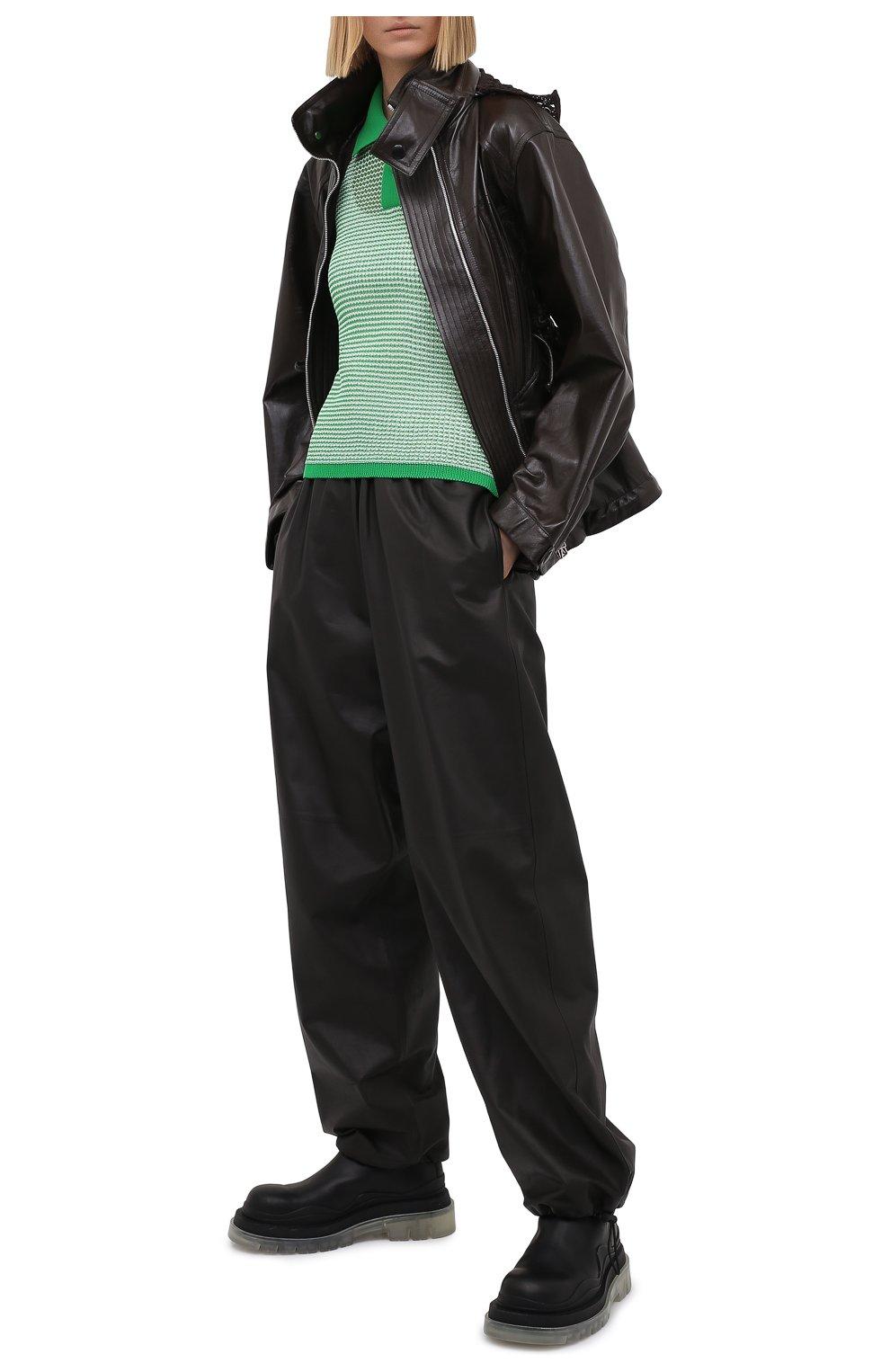 Женское поло BOTTEGA VENETA зеленого цвета, арт. 659484/V0R50 | Фото 2