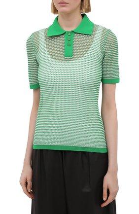 Женское поло BOTTEGA VENETA зеленого цвета, арт. 659484/V0R50 | Фото 3