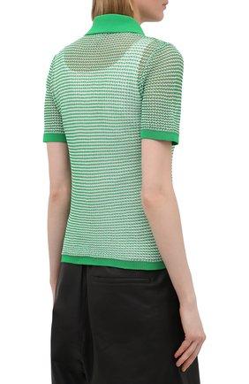Женское поло BOTTEGA VENETA зеленого цвета, арт. 659484/V0R50 | Фото 4
