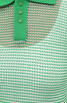 Женское поло BOTTEGA VENETA зеленого цвета, арт. 659484/V0R50 | Фото 5