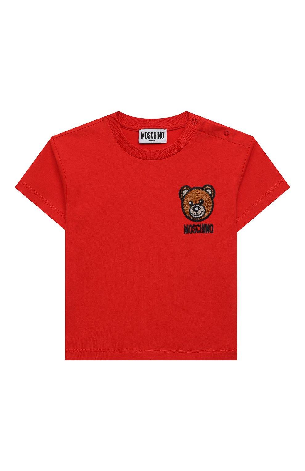 Детский хлопковая футболка MOSCHINO красного цвета, арт. MUM02E/LBA10   Фото 1