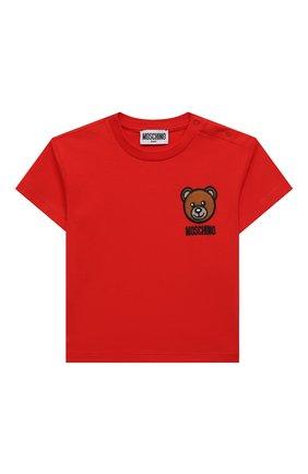 Детский хлопковая футболка MOSCHINO красного цвета, арт. MUM02E/LBA10 | Фото 1