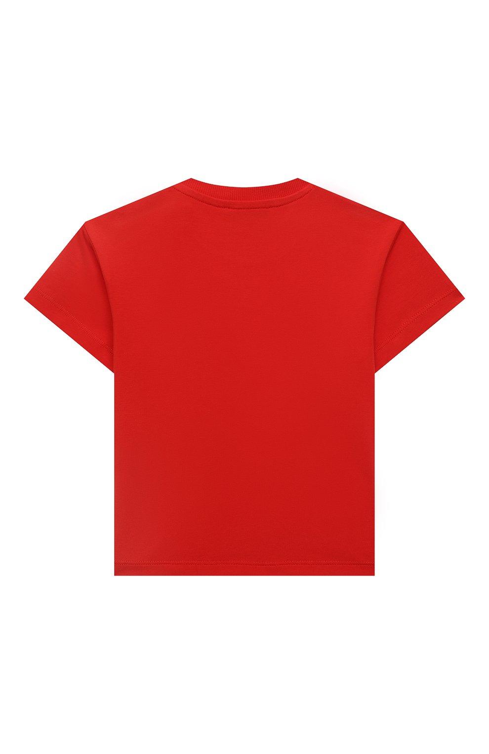 Детский хлопковая футболка MOSCHINO красного цвета, арт. MUM02E/LBA10   Фото 2
