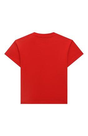 Детский хлопковая футболка MOSCHINO красного цвета, арт. MUM02E/LBA10 | Фото 2