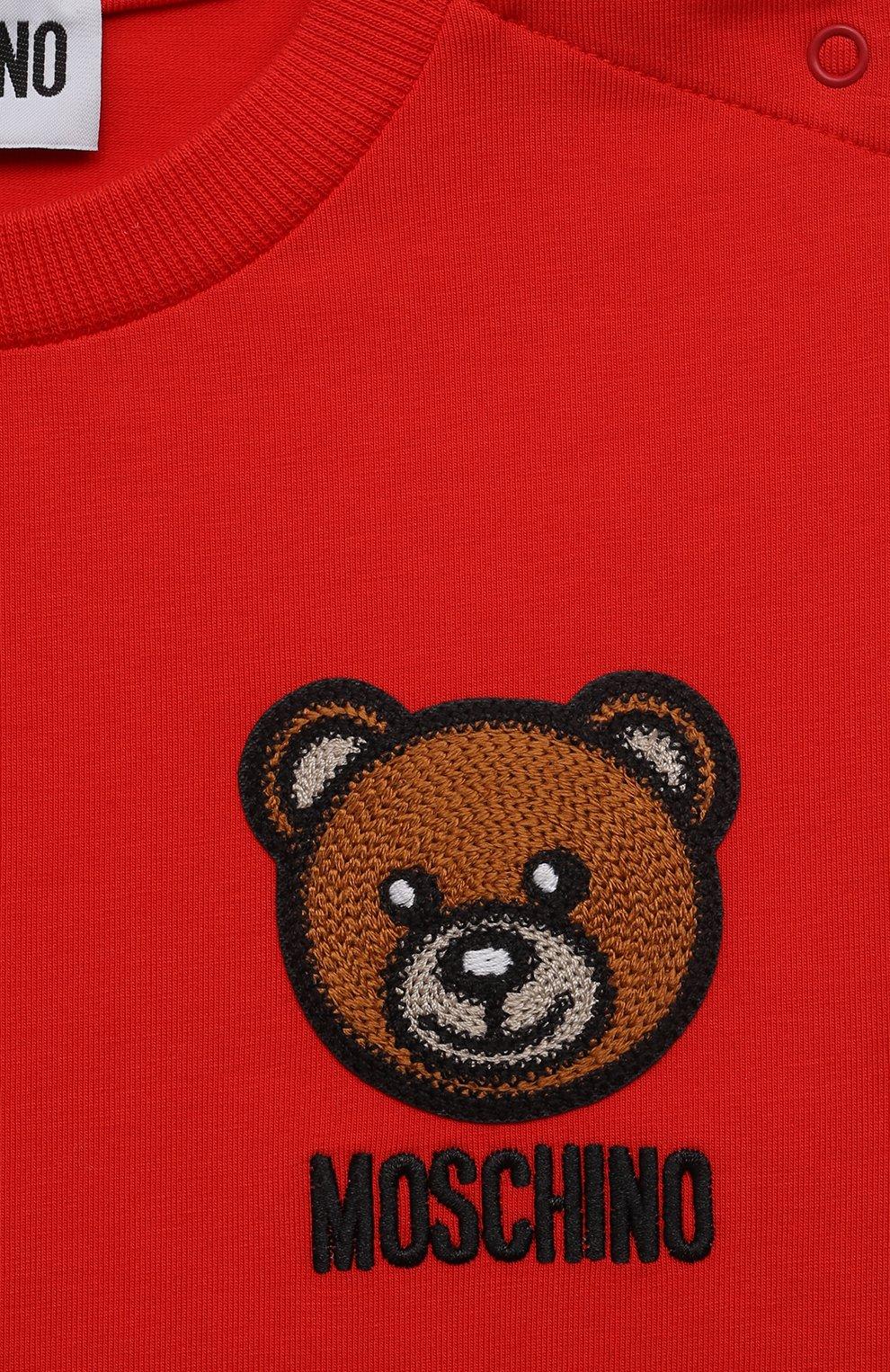 Детский хлопковая футболка MOSCHINO красного цвета, арт. MUM02E/LBA10   Фото 3