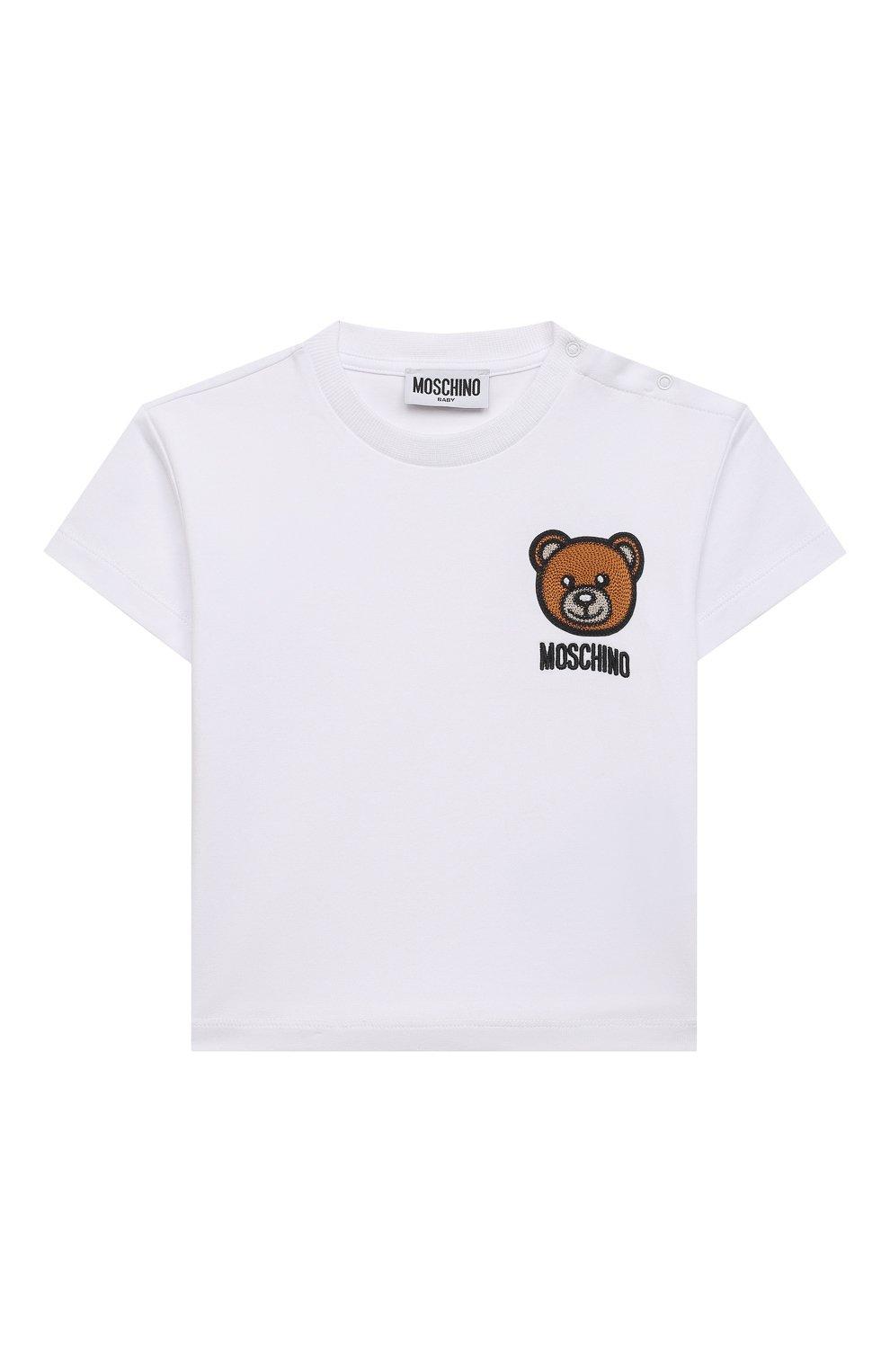 Детский хлопковая футболка MOSCHINO белого цвета, арт. MUM02E/LBA10   Фото 1