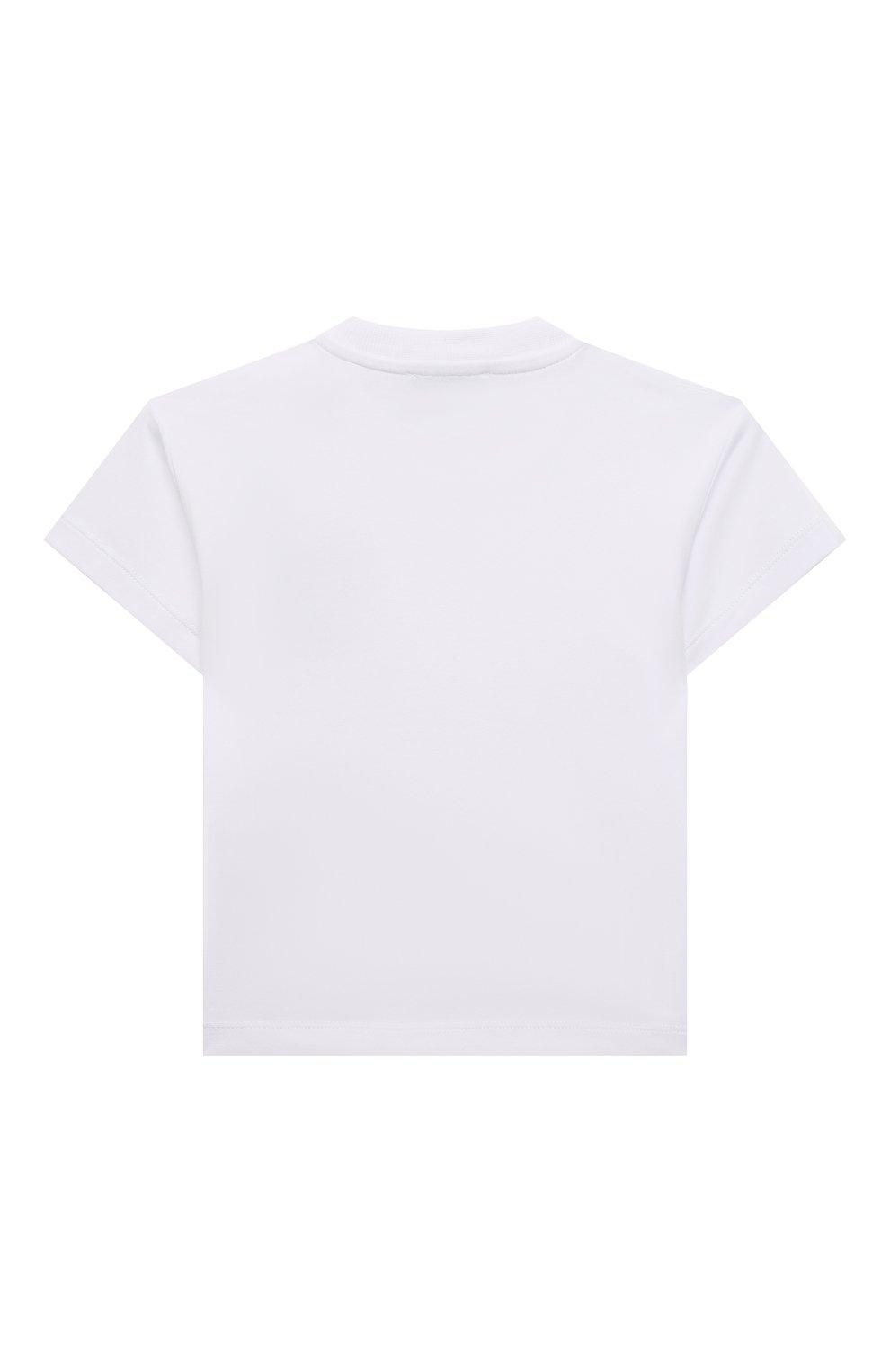 Детский хлопковая футболка MOSCHINO белого цвета, арт. MUM02E/LBA10   Фото 2