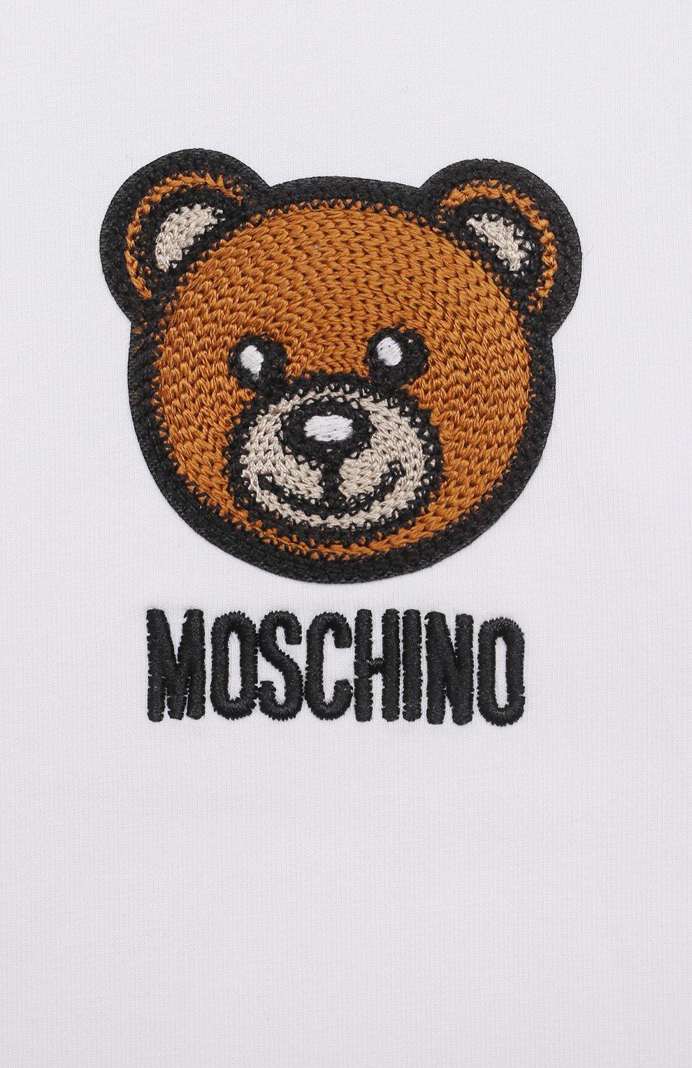 Детский хлопковая футболка MOSCHINO белого цвета, арт. MUM02E/LBA10 | Фото 3