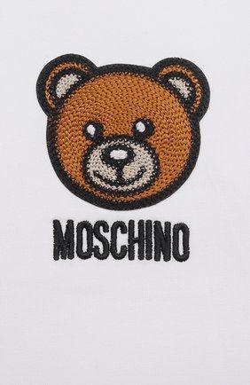 Детский хлопковая футболка MOSCHINO белого цвета, арт. MUM02E/LBA10   Фото 3