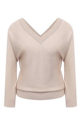Женский пуловер из шелка и кашемира TEGIN бежевого цвета, арт. ST2155C | Фото 1