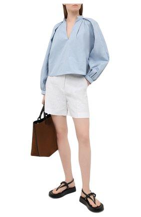 Женские льняные шорты LORO PIANA белого цвета, арт. FAL5943 | Фото 2
