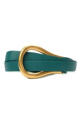 Женский кожаный ремень BOTTEGA VENETA темно-бирюзового цвета, арт. 577040/VMAU1 | Фото 1