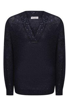 Женский пуловер из льна и шелка BRUNELLO CUCINELLI темно-синего цвета, арт. M10551002   Фото 1