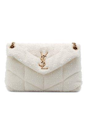 Женская сумка puffer loulou small SAINT LAURENT белого цвета, арт. 577476/2RL27   Фото 1 (Сумки-технические: Сумки через плечо; Размер: small; Ремень/цепочка: С цепочкой, На ремешке; Материал: Текстиль)