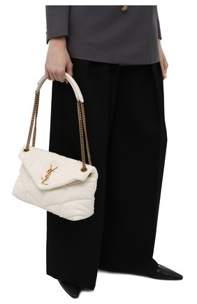 Женская сумка puffer loulou small SAINT LAURENT белого цвета, арт. 577476/2RL27   Фото 2