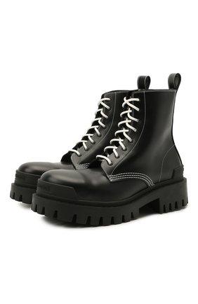 Женские кожаные ботинки 20 мм strike BALENCIAGA черного цвета, арт. 590974/WA964 | Фото 1