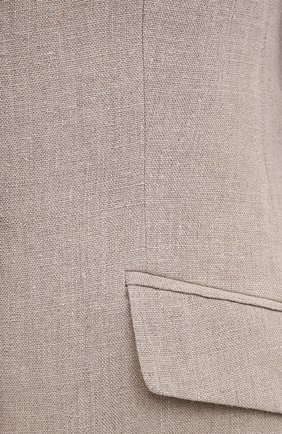 Женский льняной жакет EMPORIO ARMANI бежевого цвета, арт. ANG40T/A2026   Фото 5