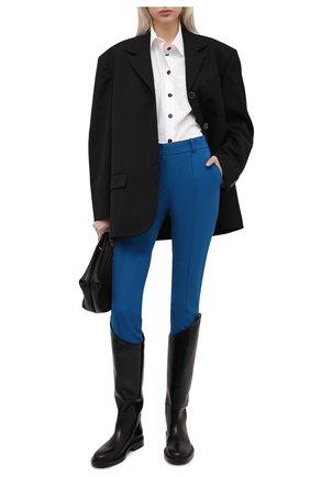 Женские шерстяные брюки LORO PIANA синего цвета, арт. FAL6282   Фото 2 (Материал внешний: Шерсть; Силуэт Ж (брюки и джинсы): Узкие; Женское Кросс-КТ: Брюки-одежда; Стили: Кэжуэл; Длина (брюки, джинсы): Укороченные)