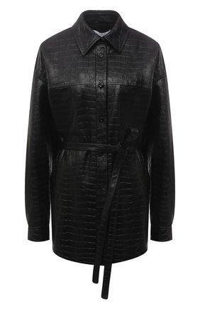 Женская кожаная рубашка DROME черного цвета, арт. DPDA455P/D2010P   Фото 1