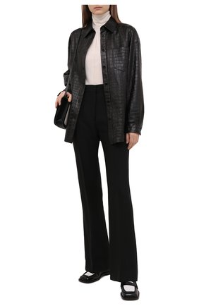 Женская кожаная рубашка DROME черного цвета, арт. DPDA455P/D2010P   Фото 2