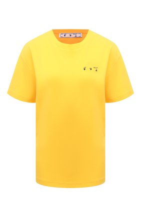 Женская хлопковая футболка OFF-WHITE желтого цвета, арт. 0WAA089S21JER001   Фото 1
