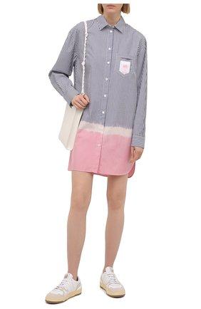 Женское хлопковое платье PALM ANGELS синего цвета, арт. PWDB098S21FAB0014030   Фото 2