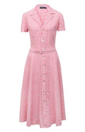 Женское льняное платье POLO RALPH LAUREN розового цвета, арт. 211838053 | Фото 1