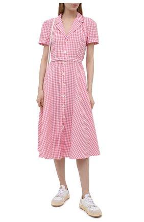 Женское льняное платье POLO RALPH LAUREN розового цвета, арт. 211838053 | Фото 2