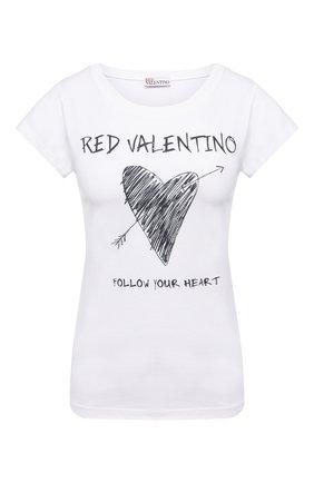 Женская хлопковая футболка REDVALENTINO белого цвета, арт. VR0MG10A/5VK   Фото 1 (Материал внешний: Хлопок; Рукава: Короткие; Длина (для топов): Стандартные; Женское Кросс-КТ: Футболка-одежда; Принт: С принтом; Стили: Кэжуэл)
