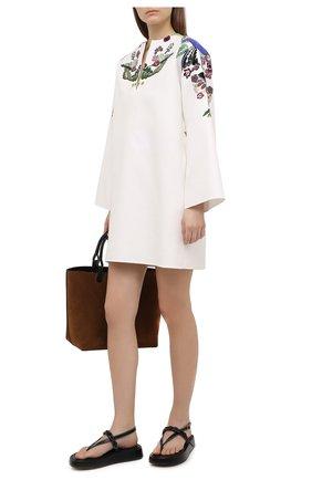 Женское хлопковое платье VALENTINO белого цвета, арт. VB3VAV1275Y | Фото 2