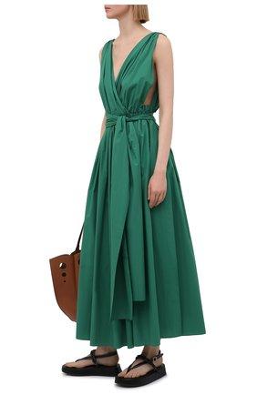 Женское хлопковое платье DOLCE & GABBANA зеленого цвета, арт. F6P0LT/FU5K9 | Фото 2