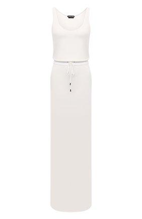 Женское платье из вискозы TOM FORD белого цвета, арт. ABJ580-FAX779 | Фото 1 (Материал подклада: Вискоза; Длина Ж (юбки, платья, шорты): Макси; Материал внешний: Вискоза; Рукава: Без рукавов; Женское Кросс-КТ: Платье-одежда; Случай: Повседневный; Стили: Кэжуэл)