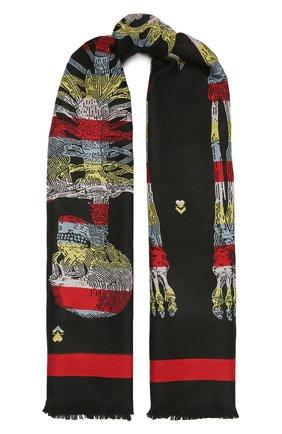 Женский шерстяной шарф ALEXANDER MCQUEEN черного цвета, арт. 656749/3200Q | Фото 1 (Материал: Шерсть)