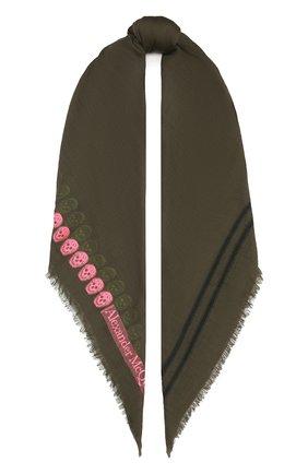 Женская шаль из шерсти и шелка ALEXANDER MCQUEEN хаки цвета, арт. 656400/3D27Q | Фото 1 (Материал: Шелк, Текстиль, Шерсть)