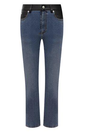 Женские джинсы ALEXANDER MCQUEEN синего цвета, арт. 653410/QZADD | Фото 1 (Материал внешний: Хлопок; Длина (брюки, джинсы): Стандартные; Детали: Потертости; Силуэт Ж (брюки и джинсы): Прямые; Стили: Гранж; Кросс-КТ: Деним)