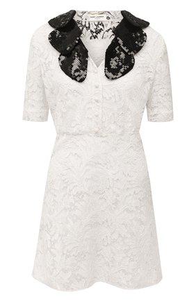 Женское платье из хлопка и вискозы SAINT LAURENT белого цвета, арт. 648188/Y408G | Фото 1