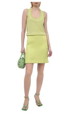 Женская кожаная юбка BOTTEGA VENETA желтого цвета, арт. 655909/V0RX0 | Фото 2