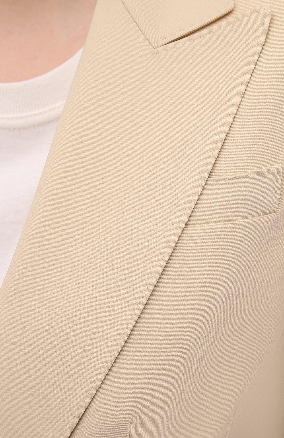 Женский шерстяной жакет RALPH LAUREN кремвого цвета, арт. 290840098   Фото 5