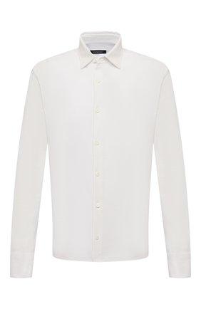 Мужская хлопковая рубашка ERMENEGILDO ZEGNA белого цвета, арт. UW375/854 | Фото 1 (Рукава: Длинные; Материал внешний: Хлопок; Длина (для топов): Стандартные; Случай: Формальный; Рубашки М: Classic Fit; Принт: Однотонные; Манжеты: На пуговицах; Воротник: Кент; Стили: Классический)