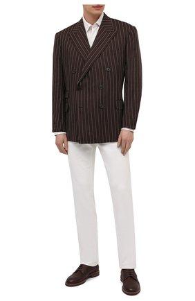 Мужская хлопковая рубашка ERMENEGILDO ZEGNA белого цвета, арт. UW375/854 | Фото 2 (Рукава: Длинные; Материал внешний: Хлопок; Длина (для топов): Стандартные; Случай: Формальный; Рубашки М: Classic Fit; Принт: Однотонные; Манжеты: На пуговицах; Воротник: Кент; Стили: Классический)